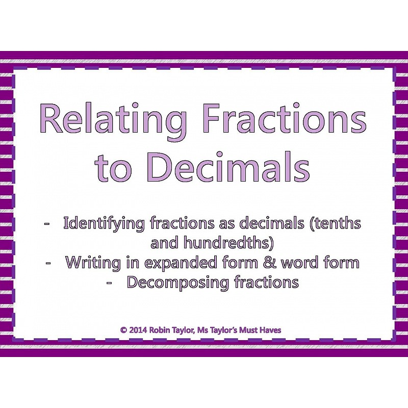 Fractions to decimals worksheet tenths and hundredths