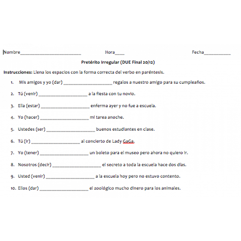 Irregular Preterite Worksheet Collection – Preterite Practice Worksheet
