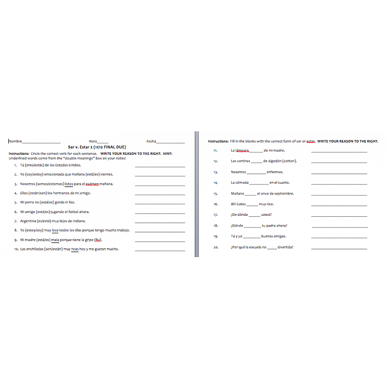 vs Estar Worksheet Pack – Ser and Estar Worksheet