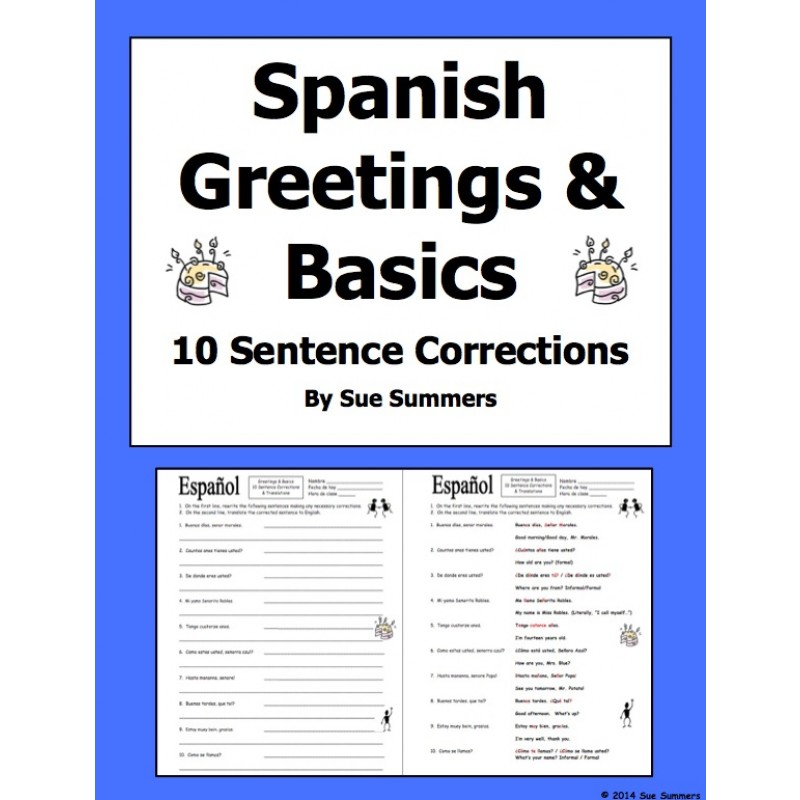 Worksheets Greetings In Spanish greetings and basics 10 sentence corrections translations spanish translations