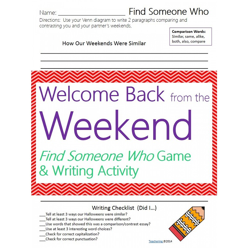 back from the weekend game comparison contrast writing activity  welcome back from the weekend game comparison contrast writing activity