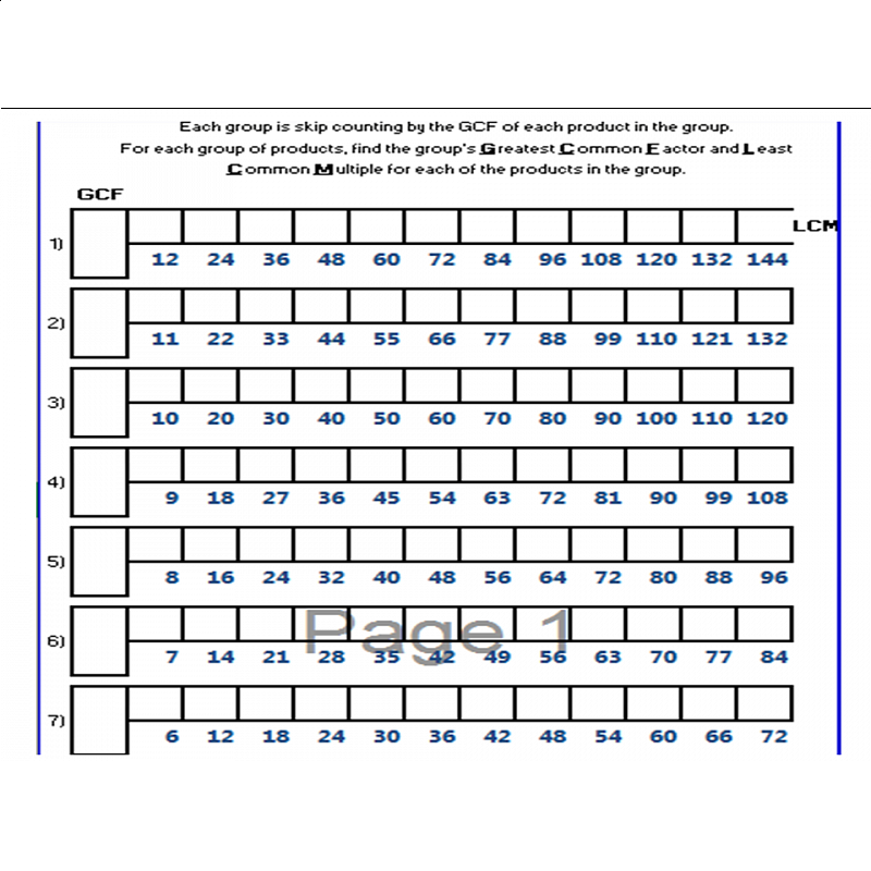 Count GCF and LCM Worksheet – Gcf Worksheets