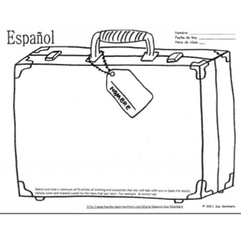 Clothing Travel Suitcase Sketch and Label La Ropa – La Ropa Worksheet