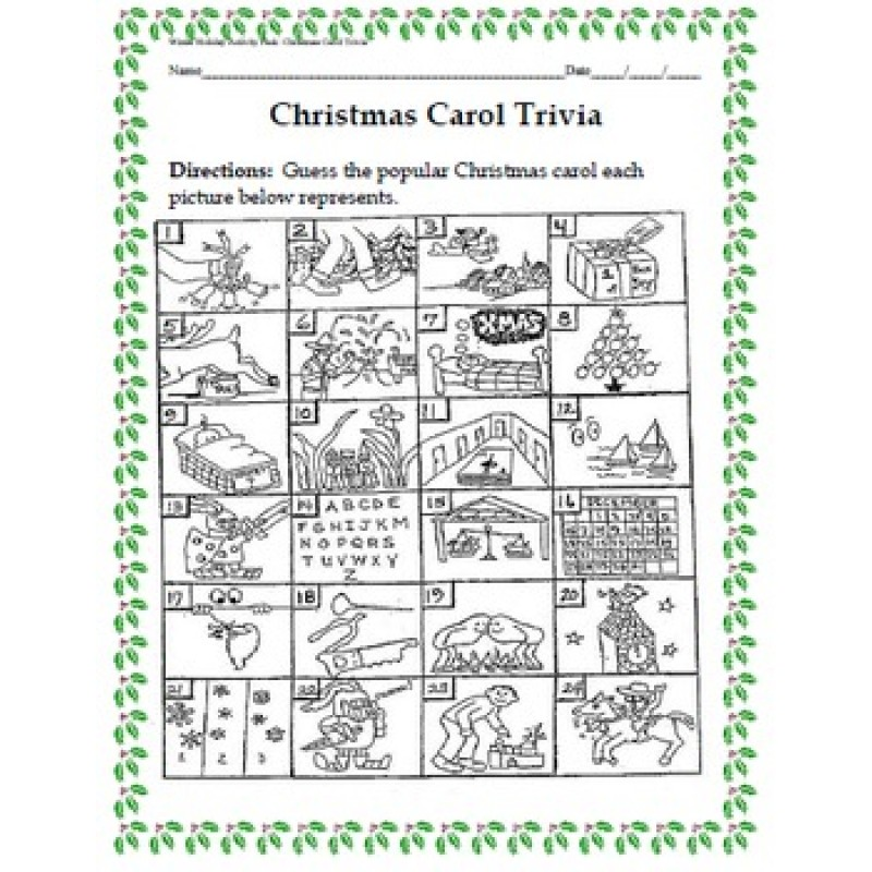 ... Winter Holiday Activity Pack - Guess the Christmas Carol Trivia Game