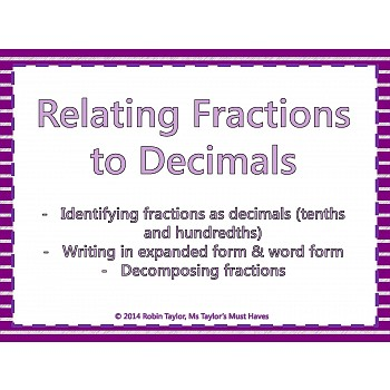 Fractions to Decimals PowerPoint & Worksheet (Tenths & Hundredths)