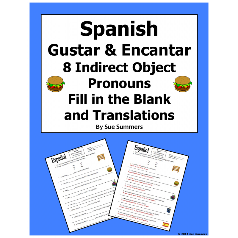 Gustar and Encantar Fill In the Blank and Translations Worksheet