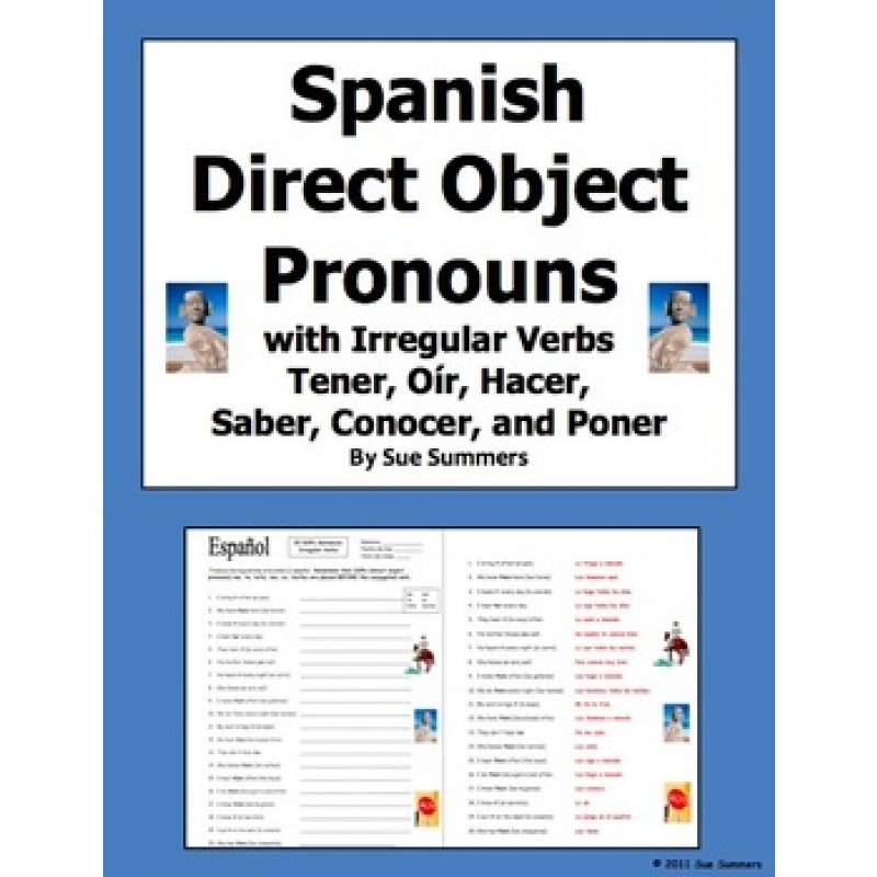 Direct Object Pronouns & Irregular Present Tense Verbs Worksheet