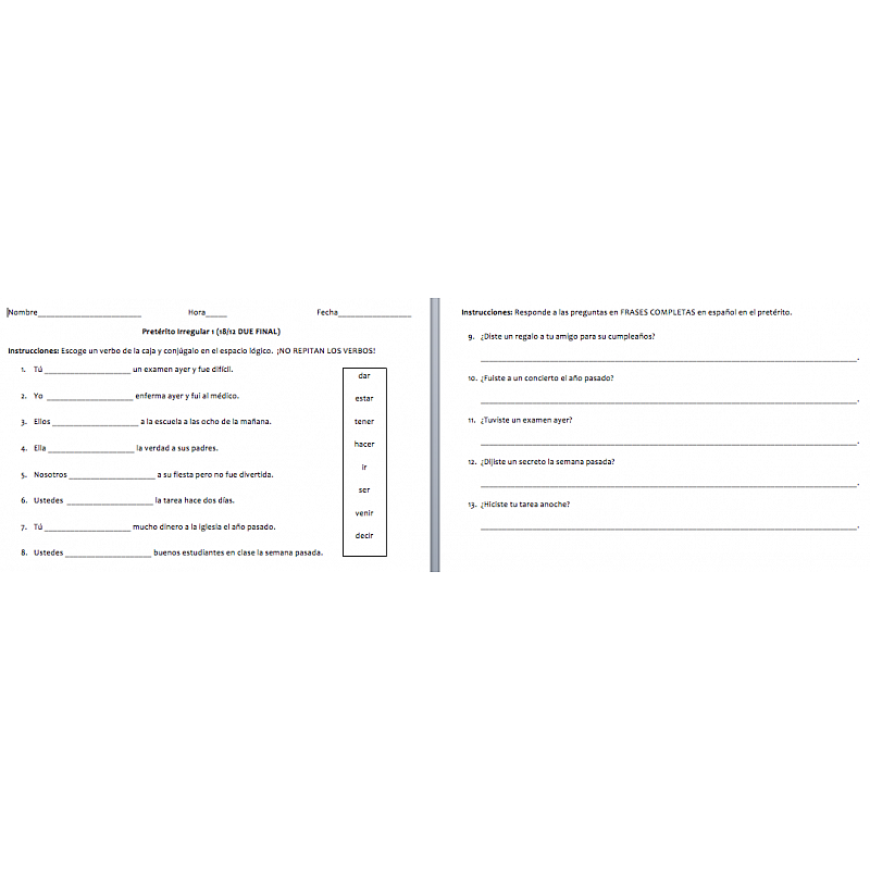 Printable Worksheets spanish preterite worksheets : Irregular Preterite Worksheet Collection